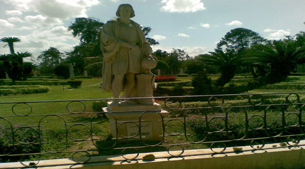 Statue of Columbus in the garden
