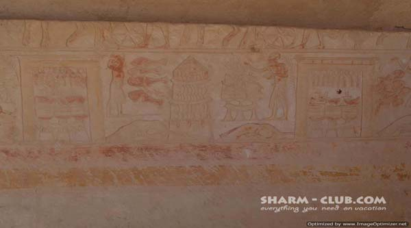Decoration of wall in the tomb.